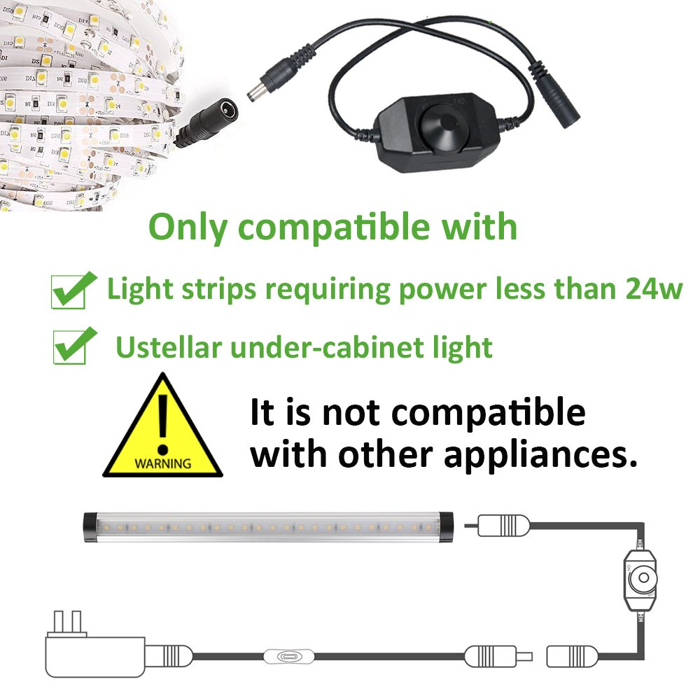 9-24V DC 2A Max Only for Most LED Light Strip and Ustellar LED Under Cabinet Ustellar LED Strip Dimmer