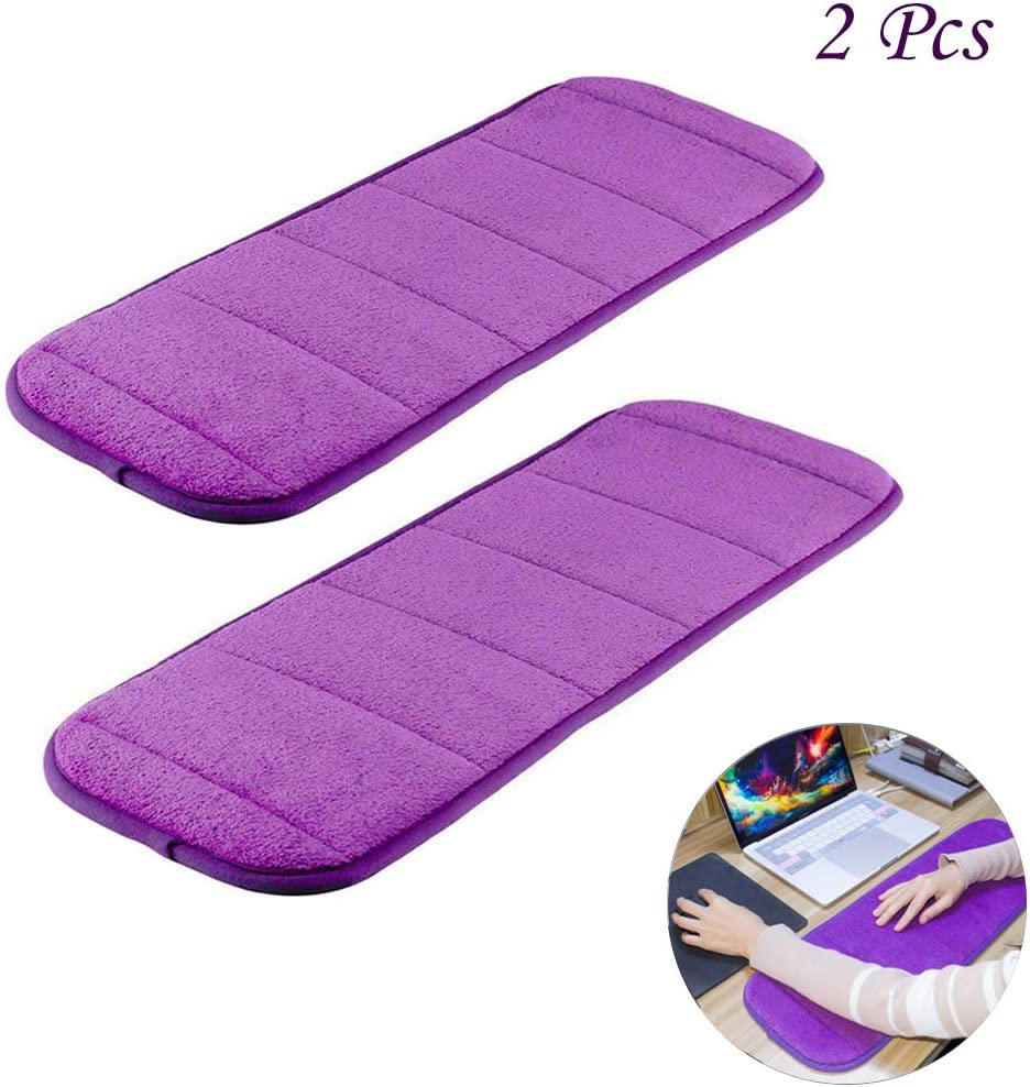MERYSAN 2Pcs Computer Wrist Elbow Pad, Upgraded Wrist Rest Arm Pad(Soft, Anti-Slip), Keyboard Wrist Elbow Support Mat for Office Desktop Working Gaming - Less Elbow Pain (7.9 x 23.6 inch) (Purple)