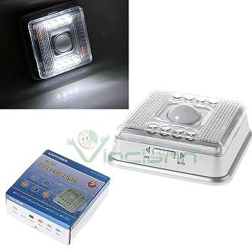 Luz 8 LED Sensor de movimiento, detector día y noche armarios pasillo inalámbrico