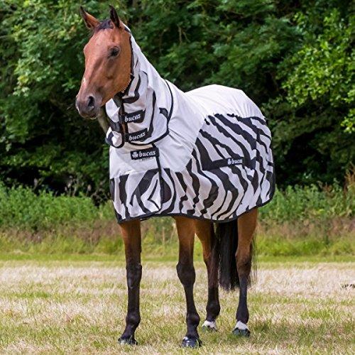 Bucas Buzz-Off Rain Zebra Full Neck - Fliegendecke/Ekzemerdecke, im Rückenbereich wasserdicht und atmungsaktiv, Groesse:130