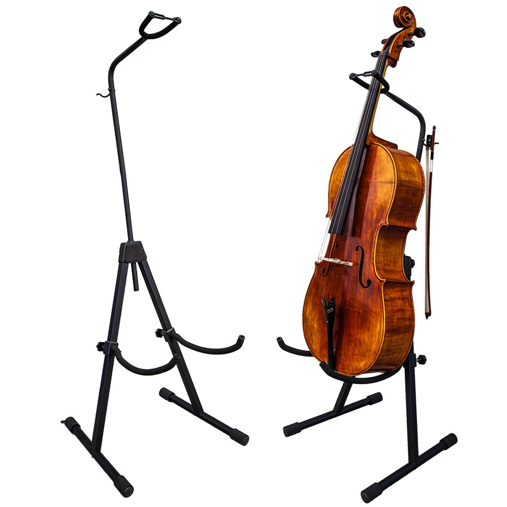PAITITI Adjustable Foldable Stand for Cello with Hook for Bow - Black PTTCESD101