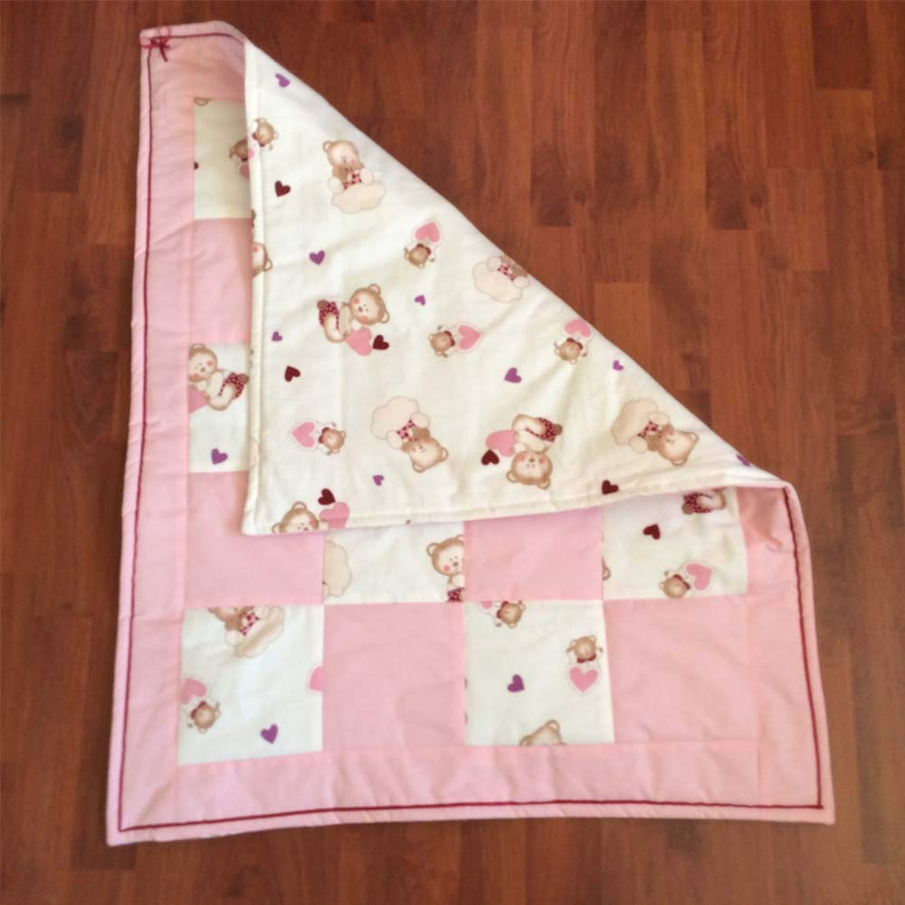 Cashmere Lap Blanket Patchwork Quilt Pink Baby Blue Yellow Cotton Flannel