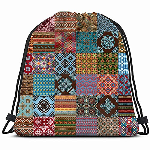 Decoration Elements Bright Red Blue Abstract Arab Drawstring Bag Backpack Gym Dance Bag Reversible Flip Sequin Bling Backpack For Hiking Beach Travel - Abstract Tapestry Damask