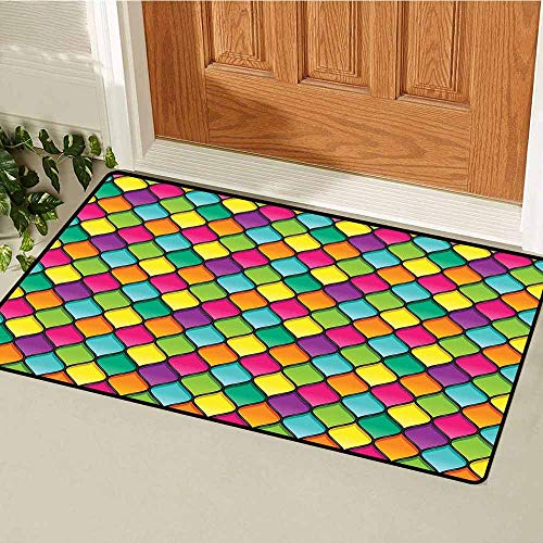 - GloriaJohnson Geometric Front Door mat Carpet Stained Glass Inspired Pattern in Lively Colors and Black Partitions Waves Curves Machine Washable Door mat W15.7 x L23.6 Inch Multicolor