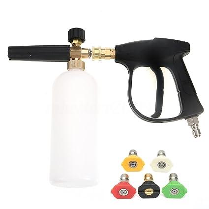 NUZAMAS Arandela de alta presión con 5 boquillas de agua y 1L Kit de botellas de lanza de espuma de nieve para la plataforma del piso de coches ...