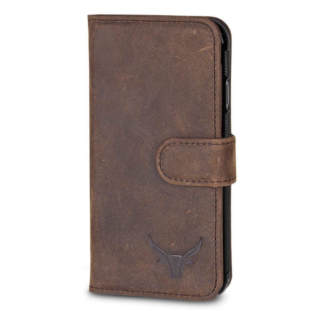 GAZZI Samsung Galaxy S8 Hülle Leder Case BookCase WalletCase Ledertasche Lederhülle Handytasche Handyhülle Echt Leder, Rundumschutz, Unzerbrechliche Schale, VINTAGE BRAUN