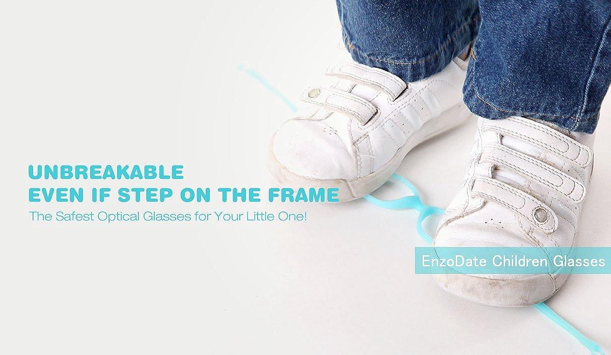 EnzoDate Children Glasses Frame with Strap No Screw 4-6Y Size 46//16 with Strap No Screw 4-6Y