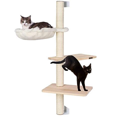 PEDY Árbol para Gatos de Columna de Abeto, Escalador y Casa para Gatos, con