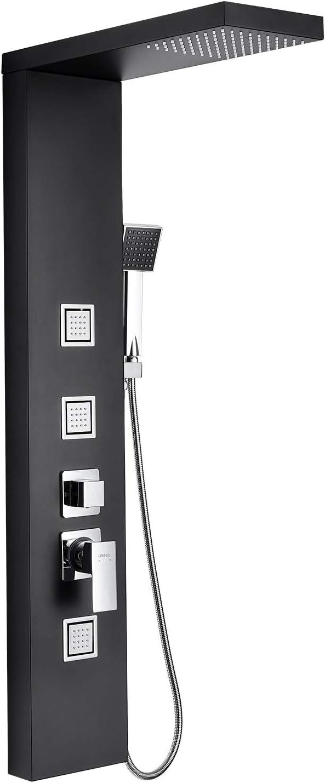 Lonheo Columna de Ducha Hidromasaje de Acero Inoxidable 304, Panel de Ducha Multifuncional Altura 117.7CM de pared, Negro