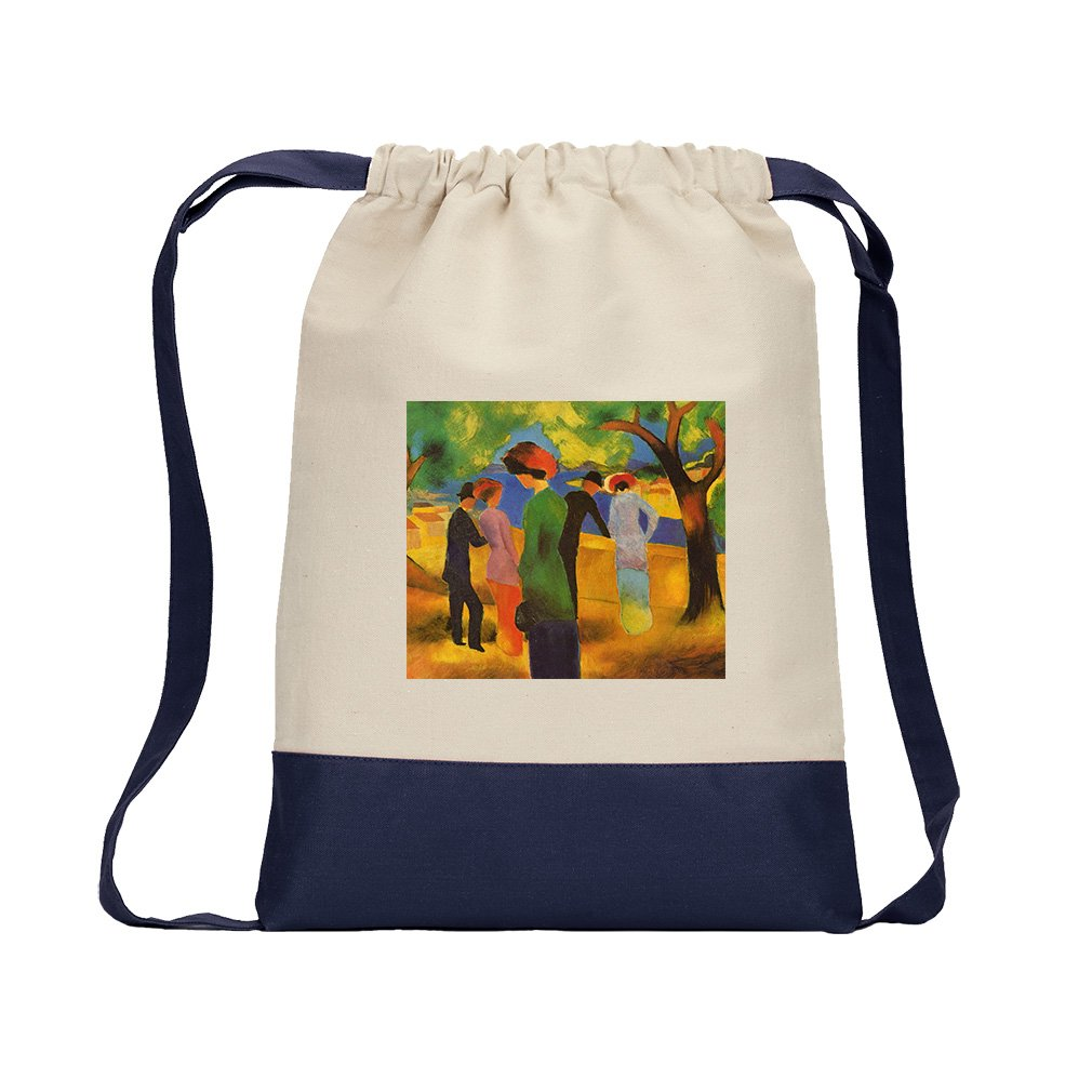 Lady In A Green Jacket (August Macke) Canvas Backpack Color Drawstring - Navy