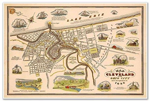 MAP of CLEVELAND & OHIO CITY circa 1836 - measures 24