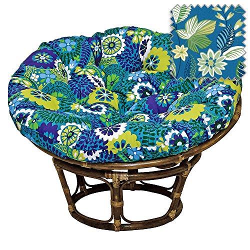 42-Inch Bali Rattan Papasan Chair with Cushion - Print Outdoor Fabric, Skyworks Caribbean (Rattan Bowl Chair)