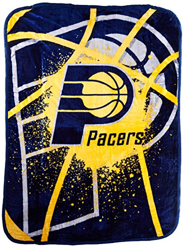 Officially Licensed NBA Indiana Pacers Shadow Play Plush Raschel Throw Blanket, 60