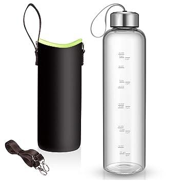 Amazon.com: Botella de agua de vidrio de 32 onzas con mangas ...