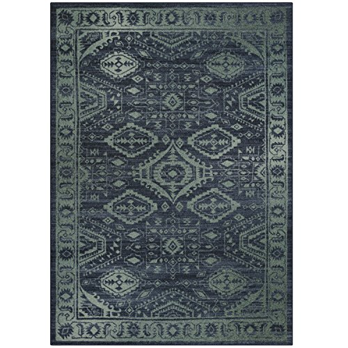 Maples Rugs Area Rugs, [Made in USA][Georgina] 5' x 7' Non Slip Padded Large Rug for Living Room, Bedroom, and Dining Room - Navy Blue/Green