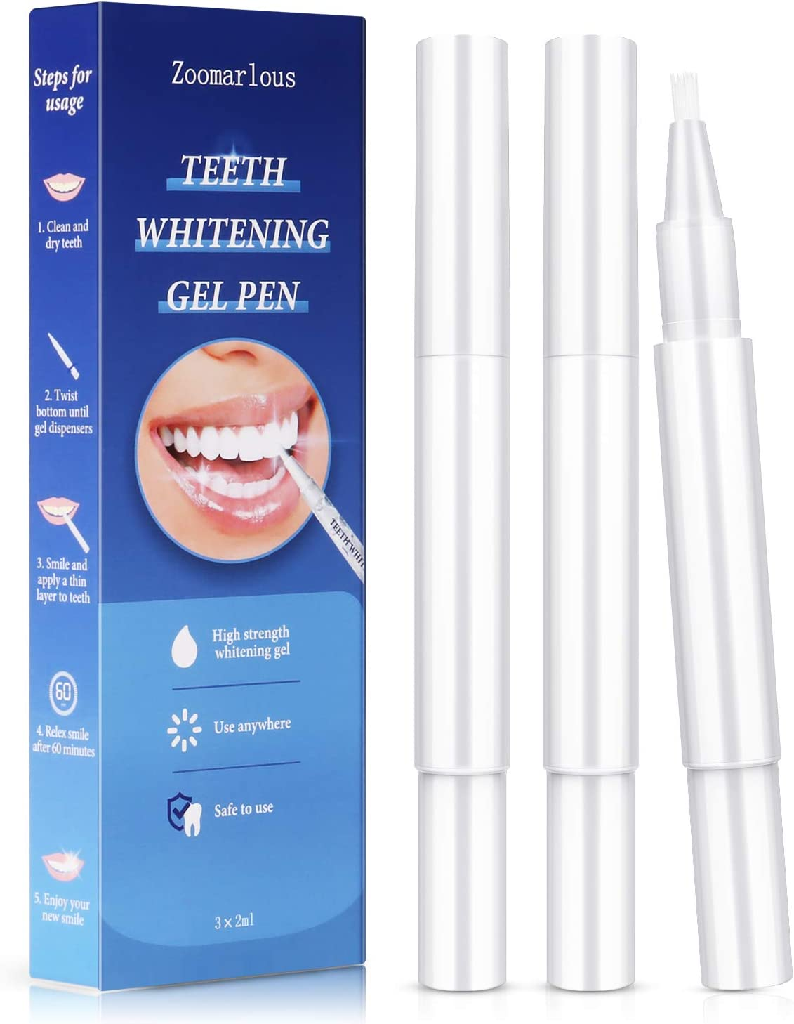 Zoomarlous Teeth Whitening Pen 3 Pack - 30+ Uses Whitening Treatments, 35% Carbamide Peroxide, No Sensitivity, Remove Coffee and Tea Stains Professional Dental Whitener, Beautiful White Smile, 3x2 ml: Health & Personal Care