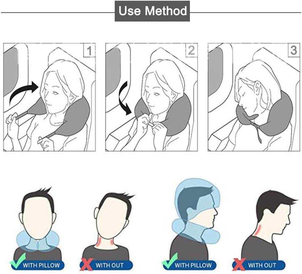 treno e ufficio-Grigio LKN Airplane Collo Cuscino Collo Cuscino con cappello a forma di U Cuscino per cappello da viaggio Colore solido per lutilizzo in aereo auto