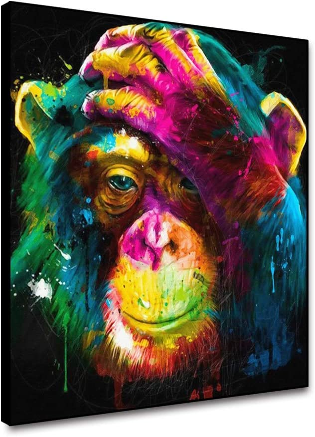 OERJU Colorful Orangutan Canvas Painting Watercolor Cute Animal Monkey Modern Abstract Artwork Poster Prints for Bathroom Bedroom Living Room Wall Decor Ready to Hang Wall Art Framed 16x16inch