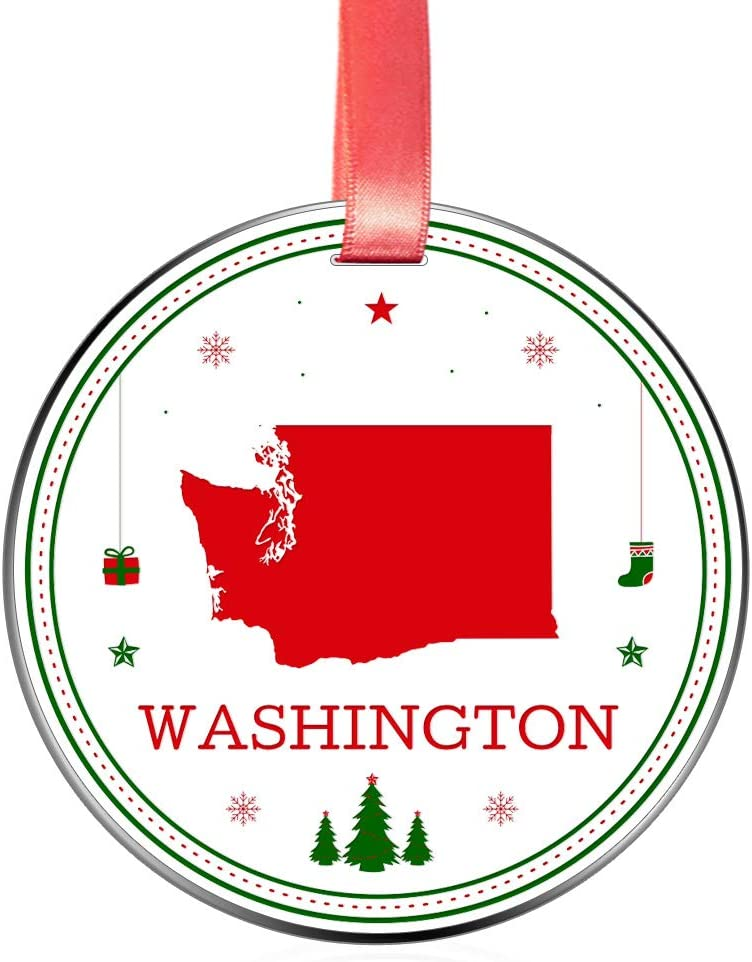 Elegant Chef Washington State Christmas Ornament- Tree Hanging WA Lover Patriotic Decoration for Xmas Holidays Celebration- 3 inch Flat Stainless Steel- Festival Decor Distance Gift for Family Friends