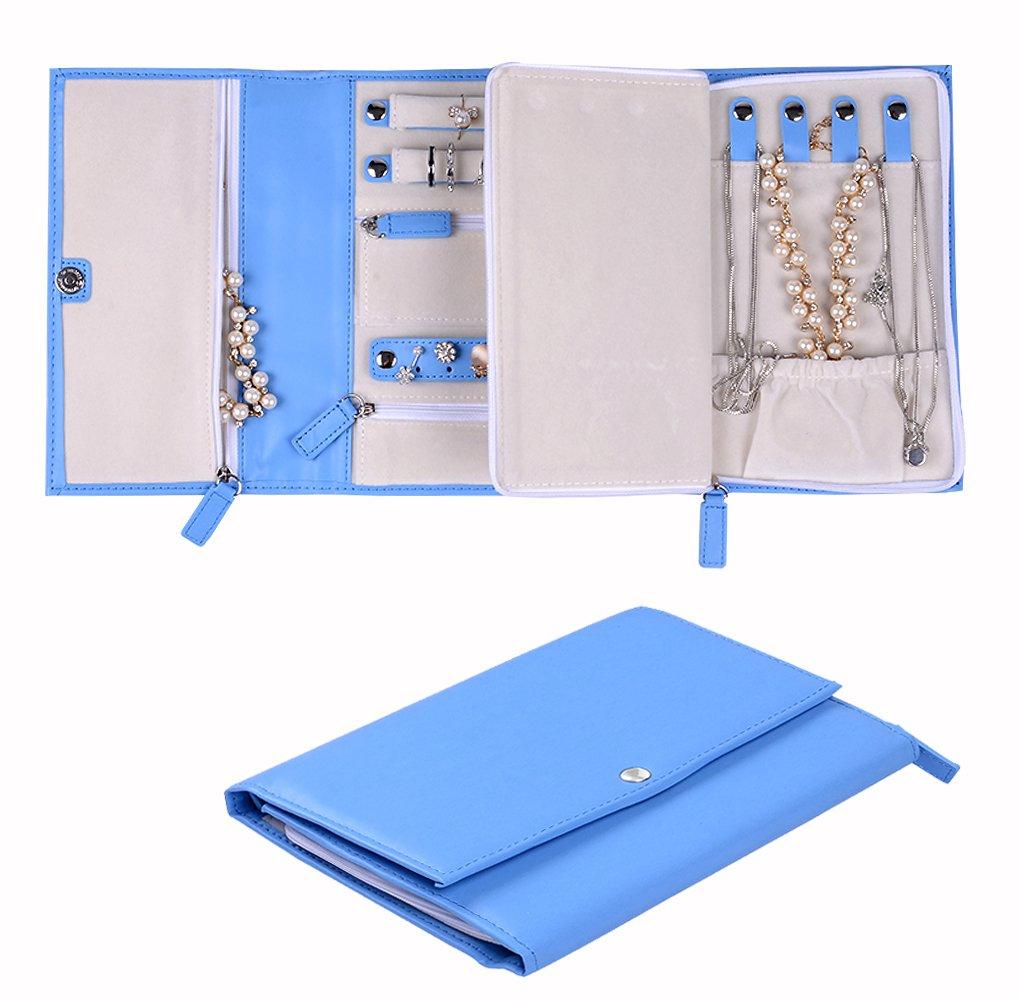 ONLVAN Travel Jewelry Case Jewelry Organizer Vegan Leather Bag Jewelry Storage (Blue)
