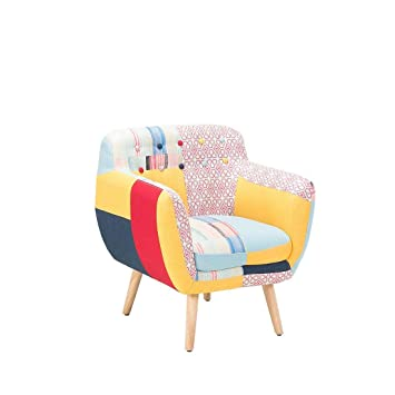 Beliani Butaca tapizada - Diseño de Patchwork - Melby ...