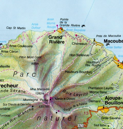 Guadeloupe 1:165,000 and Martinique 1:125,000 (Lesser Antilles) Travel Map HILDEBRAND