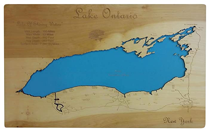 Amazon.com: Lake Ontario, New York: Standout Wood Map Wall Hanging ...