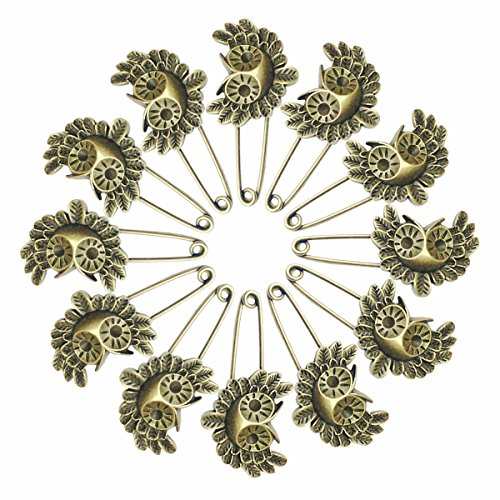 Ababalaya 12 Pcs Decorative Bronze Assorted Safety Pins Vintage Hijab Pins Retro Brooches (Owl)