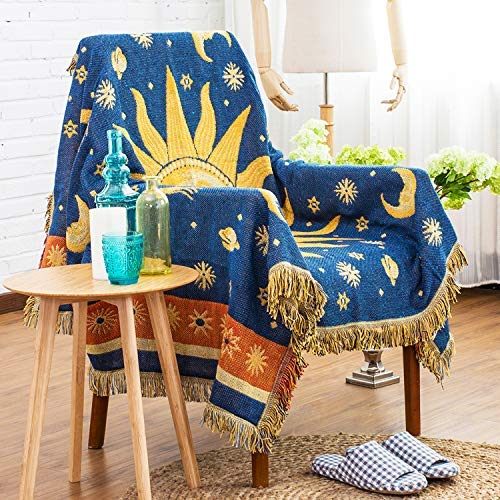 Sigetree Decorative Cotton Woven Throw Blanket Multifunctional Knitted Sofa Couch Bed Chair Cover Modern Double Sided Tapestry with Jacquard Tassels(Sun and Moon)