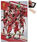 Bundle - 2 Items - Liverpool FC Players 2017 / 2018 Season Poster - 91.5 x 61cms (36 x 24 Inches) and a Set of 4 Repositionable Adhesive Pads For Easy Wall Fixing