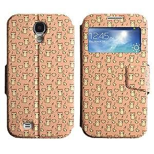 LEOCASE lindo gato Funda Carcasa Cuero Tapa Case Para Samsung Galaxy S4 I9500 No.1005347