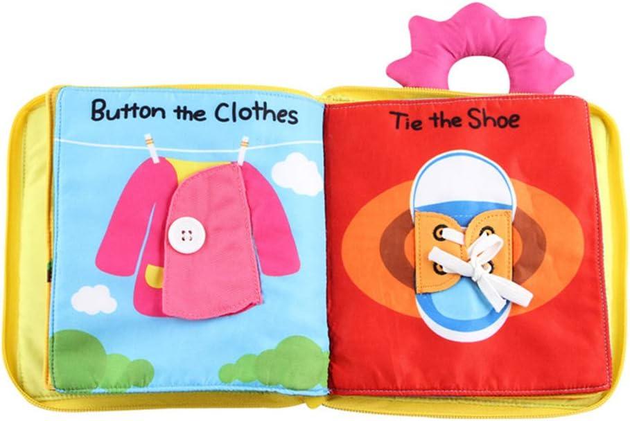 Scrox 1x Libros de Tela para Bebes 0-1-3 años Gracioso Libros Blandos Lindo Juguete Interactivo Libro Educativo Bebe Inglés Regalos para Bebes