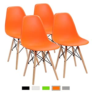 Furmax Pre Assembled Modern Style Dining Chair Mid Century Orange Modern DSW Chair, Shell Lounge Plastic Chair for Kitchen, Dining, Bedroom, Living Room Side Chairs(Set of 4)