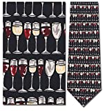 Mens 100% Silk Navy Blue Wine Glasses Stacked Tie Necktie