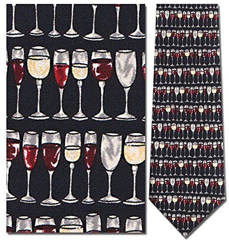 Mens 100% Silk Navy Blue Wine Glasses Stacked Tie - Museum Eyewear
