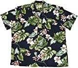 Paradise Found Mens Monstera Orchid Shirt Navy Blue 3X