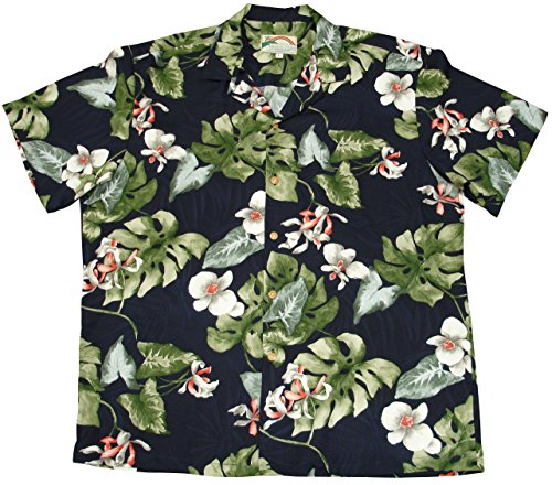 Paradise Found Mens Monstera Orchid Shirt Navy Blue 3X by Paradise Found