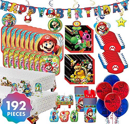 Party City Super Mario Ultimate Party Kit for 16 Guests, 192 Pieces, Includes Tableware, Decorations, Hats, and Balloons ()