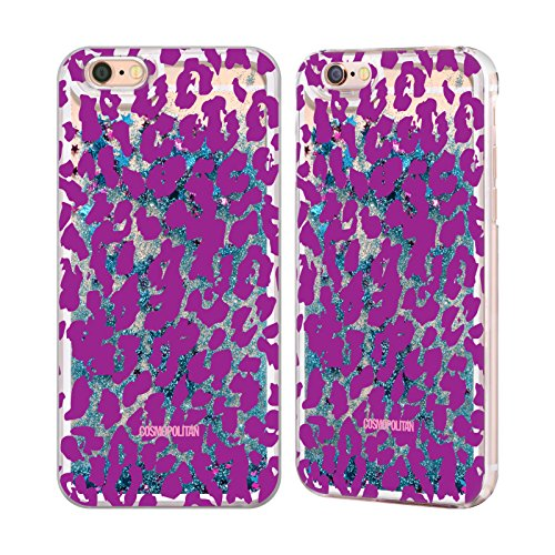 Official Cosmopolitan Violet Cheetah Animal Skin Patterns Sky Blue Liquid Glitter Case Cover for Apple iPhone 6 / 6s