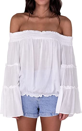 Mujer Tops Manga Larga Barco Cuello Hombros Descubiertos Camisas Elegantes Moda Anchas Lindo Chic Casual Color Sólido Blusas Camiseta: Amazon.es: Ropa y accesorios