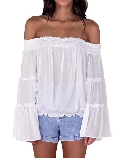 Tops Mujer Manga Larga Barco Cuello Hombros Descubiertos Camisas Elegantes Anchas Casual Color Sólido Blusas Camiseta