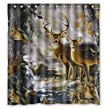 "Custom Waterproof Fabric Bathroom Deer in the Forest Shower Curtain 66"" x 72"""