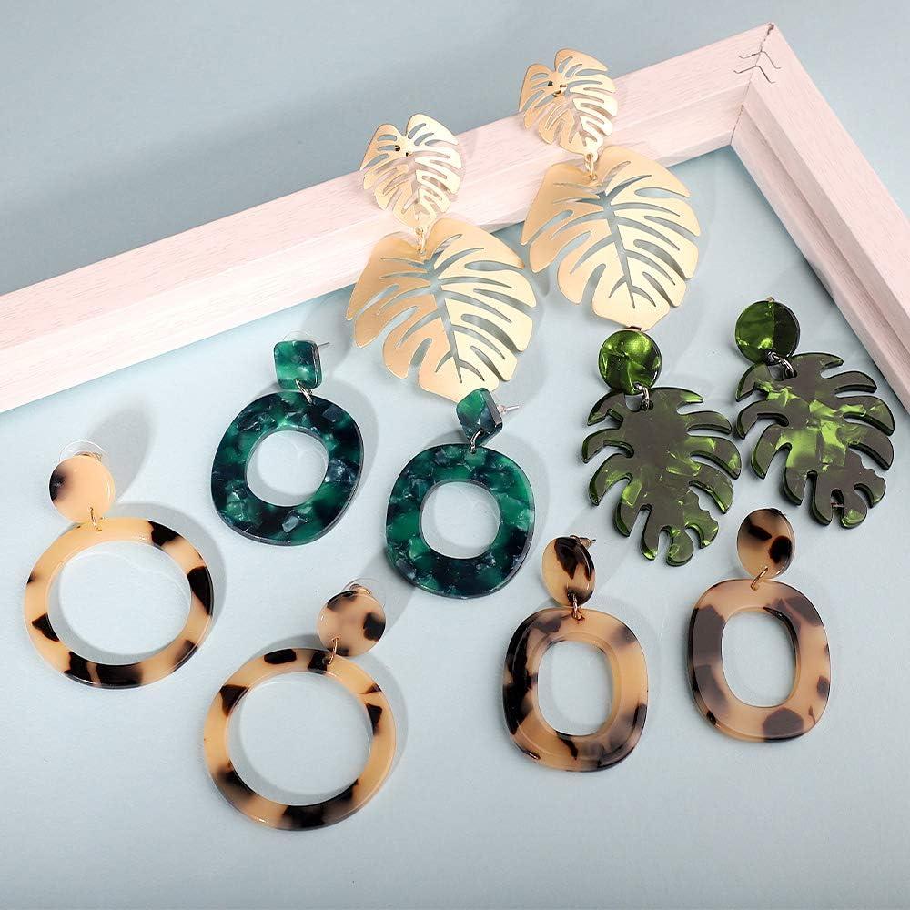 FIFATA 16 Pairs Statement Rattan Earrings for Womens Fun Acrylic Resin Earrings Trendy Bohemian Fashion Jewelry Earrings Set