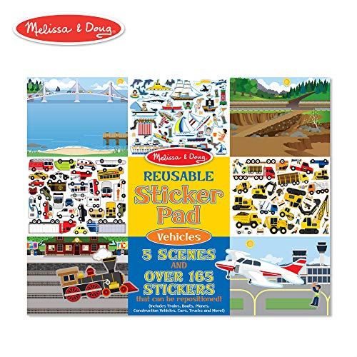 Melissa & Doug Vehicles Reusable Sticker Pad (Extra Large Sticker Activity Pad, Removable Backgrounds, 165+ Stickers) ()