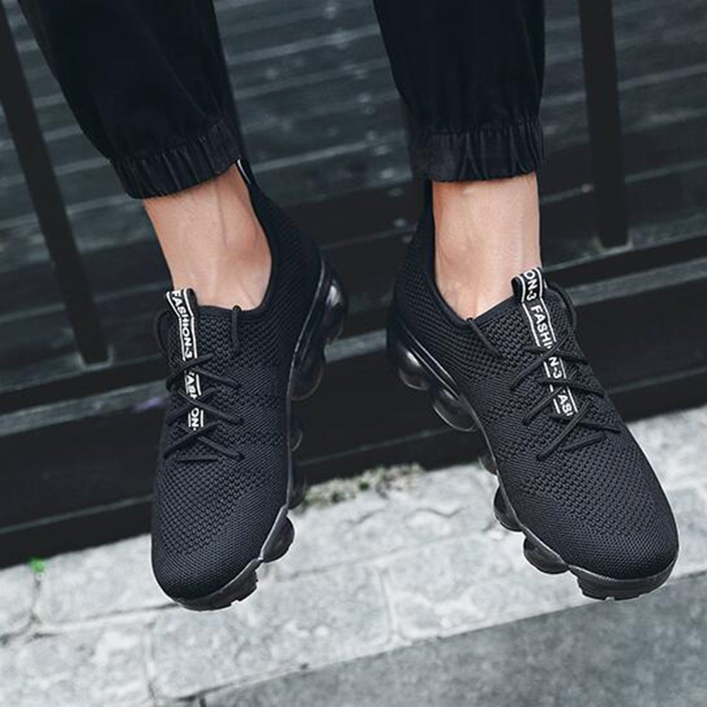 YIXINY Deporte Zapato Las zapatillas de deporte masculinas de la moda corrientes calzan la amortiguación respirable del amortiguador de aire de la primavera y del verano del acoplamiento de la malla ( Color : Negro , Tamaño : EU42/UK8.5/CN43