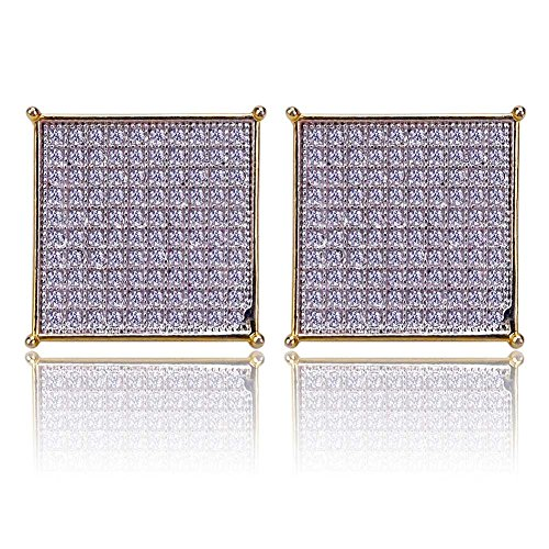 Hip Hop Jewelry Iced Out Large Square Flat Screen Block Screw Back Stud Earring Micro-Paved With Cz Simulated Diamonds ()