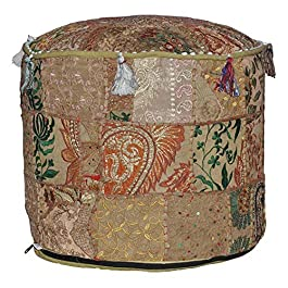Indian Pouf Footstool Ethnic Embroidered Pouf Cover, Indian Cotton Round Pouffe Ottoman Pouf Cover Pillow Ethnic Decor Art – Cover Only