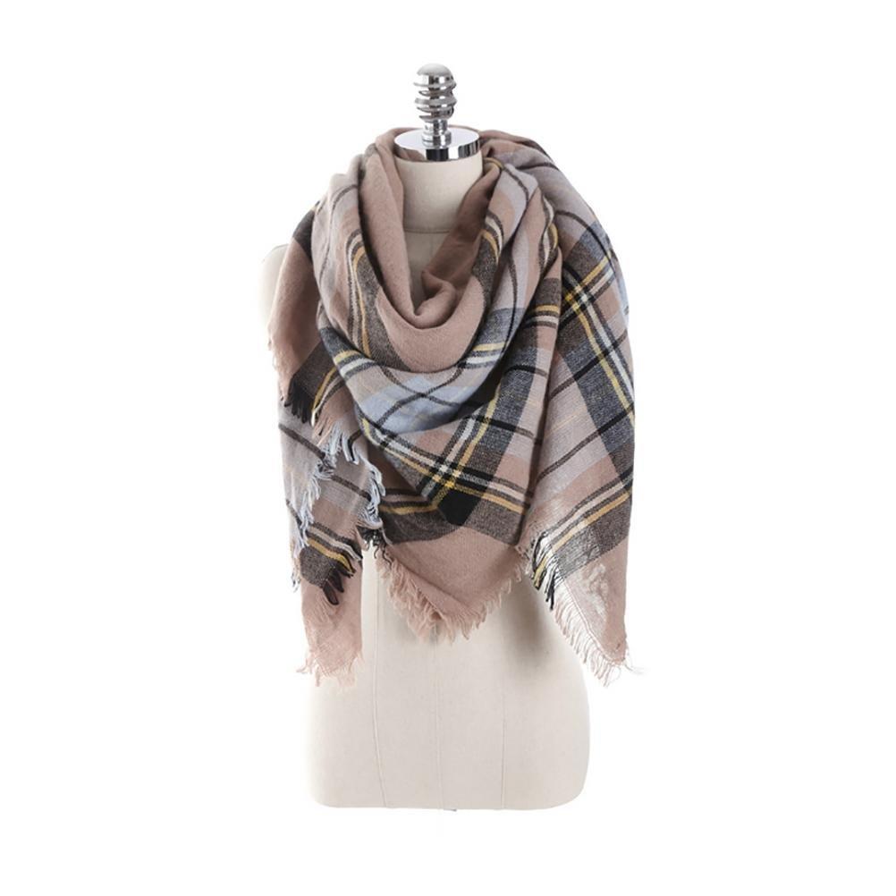 SALY Bufanda de cachemira de imitación de mujer otoño e invierno bufanda cálida de cáliz rejilla gra...