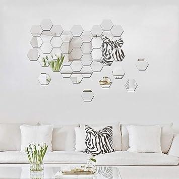 ATFUNSHOP Hexagon Spiegel Wandaufkleber 12 STÜCKE DIY Moderne Dekore ...