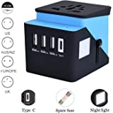 Universal Travel Adapter, RUOBAI Travel Power Converter, All in One Travel Charger with 3 USB & 1 Type-C 3.4A, International Power Adapter for US, UK, EU, AU, Over 200 Countries and Support Simultaneously Charge 5 Devices